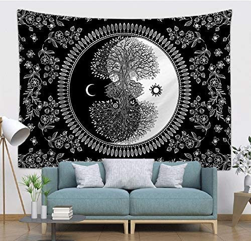 COLORPAPA Tapestry Psychedelic Sun and Moon Wall Hanging Tapestry Yin Yang Art Tree of Life Bohemian Hippie Black White Wall Decor Blanket