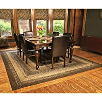 IHF Home Decor Braided Rug Rectangle Floor Carpet 27 x 48 Cappuccino Design Jute Fiber Material