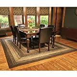IHF Home Decor Country Style Braided Jute Rug Rectangle Area Accent Floor Carpet 20'' x 30'' Cappuccino Design
