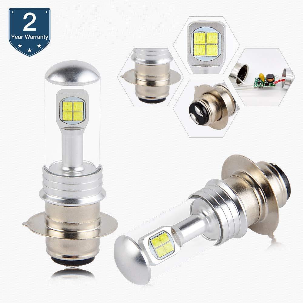 H2Racing 2Pcs BA20D H6 Moto Driving CREE LED Head Feux ampouless 1500LM//Pair 6500K White LED Lampes Un Faisceau