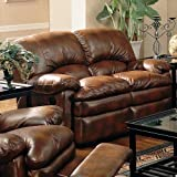 Walter Reclining Loveseat in Brown Bonded Leather by Coaster Furniture
