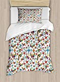 4 Pieces Bedding Sets for Child Twin Size Mexican Duvet Cover Set, Traditional Latin American Art Design with Natural Inspirations Flowers and Birds, 1 Duvet Cover 1 Flat Sheet and 2 Pillowcases