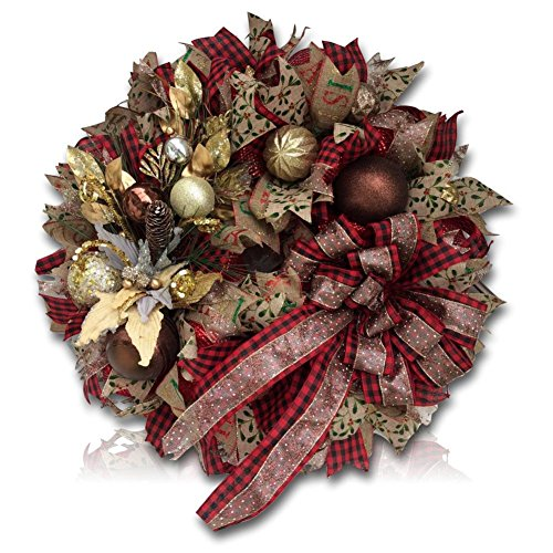 "Custom & Unique (24"" Inches) 1 Single Large Size Decorative Holiday Wreath for Door w/ Ribbons Bows Ornament Balls Plaid Sparkly Christmas Winter Wonderland Festival Style (Red, Gold, Green & Tan)"