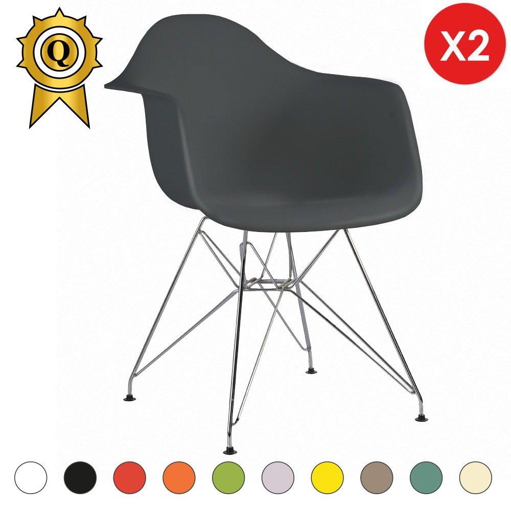 Mobistyl® Verkauf 2 x Design-Sessel Eiffel Design Chrom-Metall Beine ...
