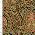 Designer Cotton Green/Multicolor Paisley Print Home Decorating Fabric, Fabric By the Yard