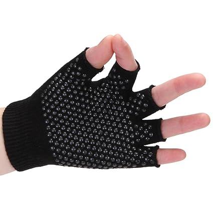 Amazon.com : Non Slip Semi-finger Cotton Yoga Gloves ...