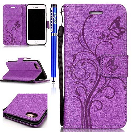 FESELE [Fleur & Papillon] peinture Motif manches pour [iPhone 6 Plus / iPhone 6S plus] étui portefeuille Flip Case en cuir cas de téléphone avec fonction stand et fermeture magnétique iPhone 6 Plus /
