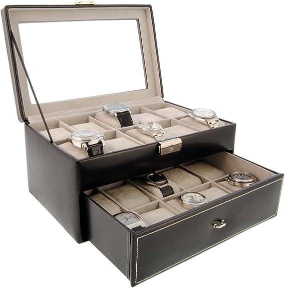 Caja para relojes de piel para guardar 20 relojes con visor de ...