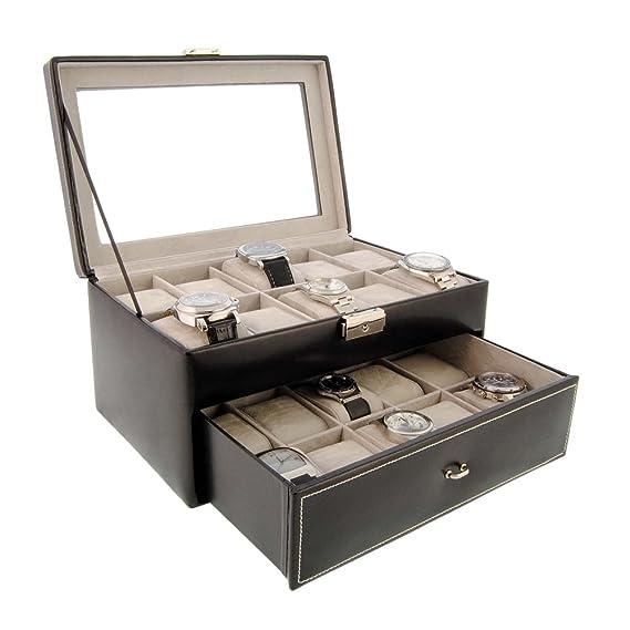 Caja para relojes de piel para guardar 20 relojes con visor de cristal - Color Negro: Amazon.es: Relojes
