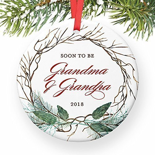 Pregnancy Announcement Ornament, You're Going To Be Grandparents in 2018 Christmas Announce for Soon To Be Grandma Grandpa Ceramic Present Keepsake 3