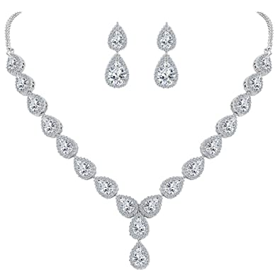 Clearine Women's Wedding Bridal Teardrop CZ Infinity Figure 8 Y-Necklace Tennis Bracelet Dangle Earrings Set 7IoV8HUNtu