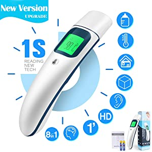 [Upgraded]New Digital Medical Forehead and Ear Thermometer 8-in-1 Professional Infrared Temporal Fever Thermometer 1s Instant Accurate Reading for Baby Kids Adults Indoor Outdoor