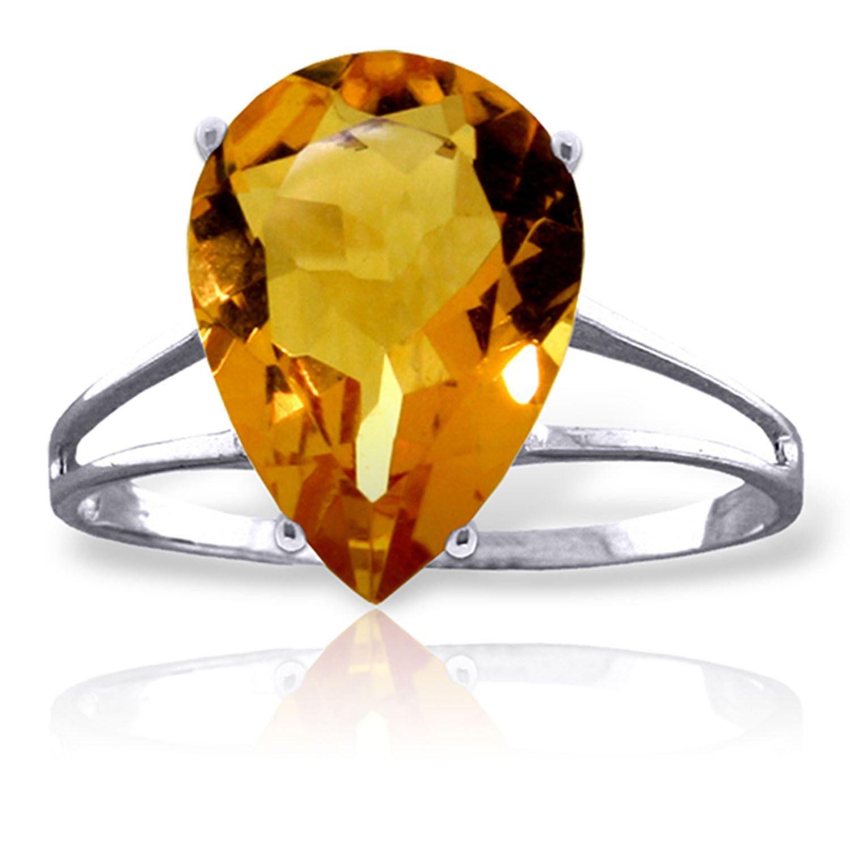 ALARRI 5 Carat 14K Solid White Gold Licks Of Love Citrine Ring Ring Size 7.5