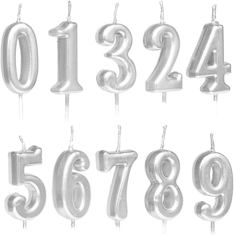 10 candele numerali per torta di compleanno con glitter argento oro rosa 2 colori oro decorazione per torta di compleanno e feste numeri 0-9