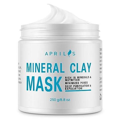 Máscara Mineral De Arcilla Blanca Aprilis, Limpiador Profundo de Poros para Cara y Cuerpo,