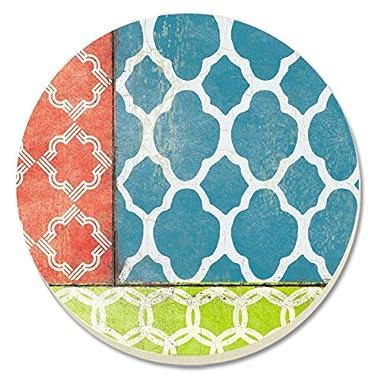 CounterArt Coral/Teal Quatrefoil Absorbent Coasters, Set of 4