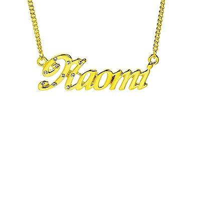 6cf191f340e9c Amazon.com: Zacria Name Necklace Naomi - 18K Yellow Gold Plated: Jewelry