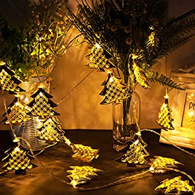 Christmas String Light, 20 LED Fairy Lights Battery Operated Metal Golden Christmas Tree Shape Light for Home, Christmas, Thanksgiving, Holiday, Party Decoration