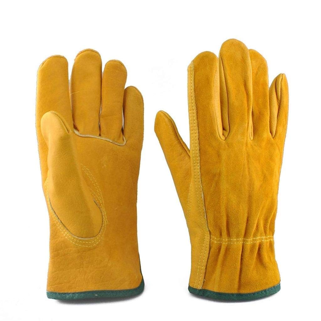 RDMZ Industrial Gloves, Wear-Resistant and Heat-Insulating Non-Slip Leather Material, Breathable and High Temperature Resistant, Suitable for Handling, Welding, Cutting (Yellow)