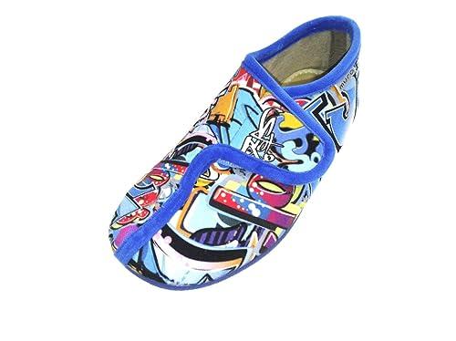 LA ZAPATLLERIA - Zapatilla de Andar por casa Velcro Grafiti Azul (28 EU)