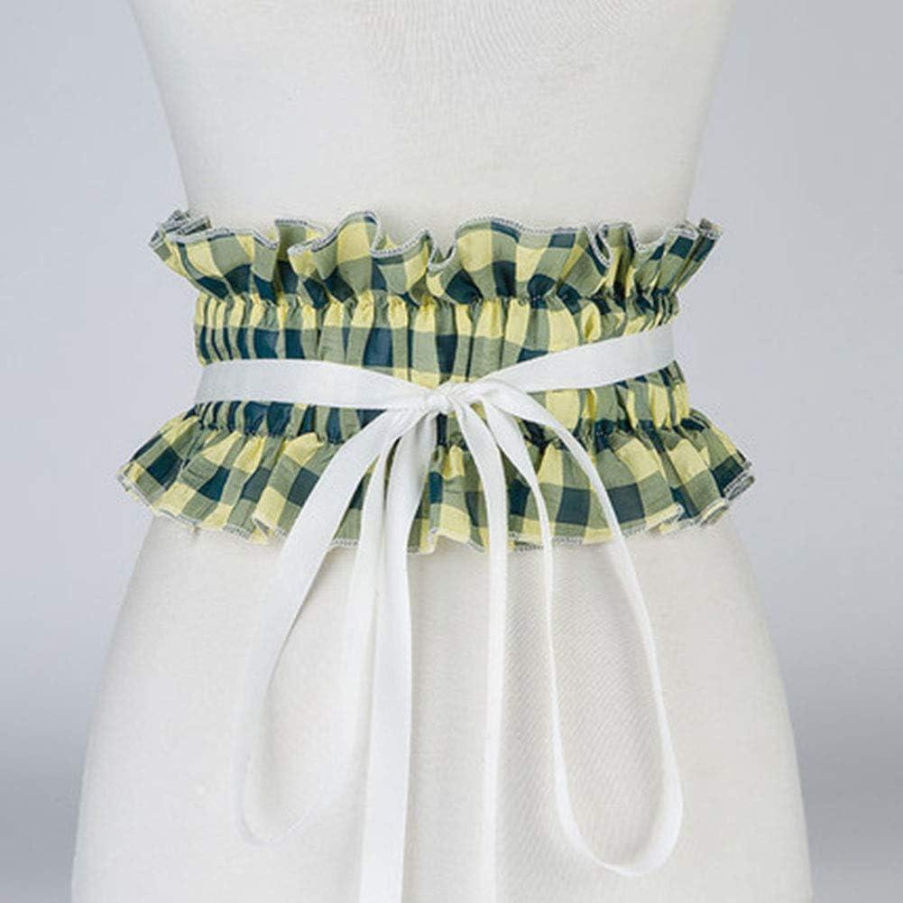 TINERS Pretina Elástica Elástica, Camisa Blanca Decorativa De Las Señoras A Cuadros Salvajes Vestido De Encaje De Faja,Verde: Amazon.es: Hogar