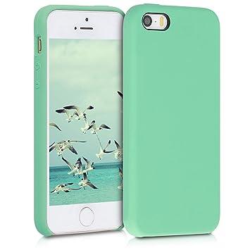 kwmobile Funda para Apple iPhone SE / 5 / 5S - Carcasa de TPU para teléfono móvil - Cover Trasero en Verde Menta