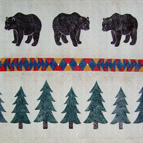 (Art Needlepoint Lodge Bear Pattern Needlepoint Canvas by Run a Muck Studios)