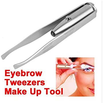 Ladiy Women Eyebrow Clip Make Up Eyebrow Tweezer with LED Light Tweezers
