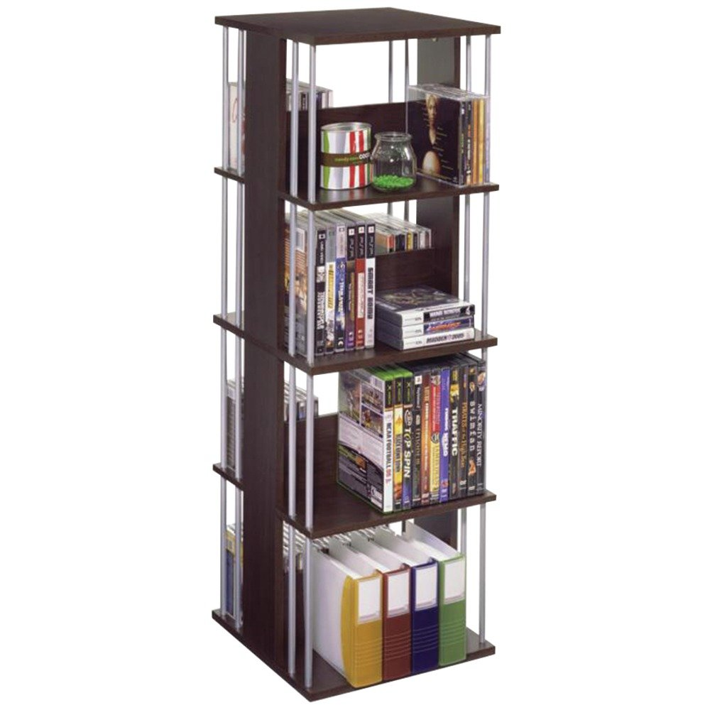 Atlantic Typhoon Media Spinner Unit - Fully Rotates 360 Degrees on a Ball Bearing Base, Holds 216 CDs, 144 DVDs, 4 Fixed Shelves, PN82635716 in Espresso by Atlantic
