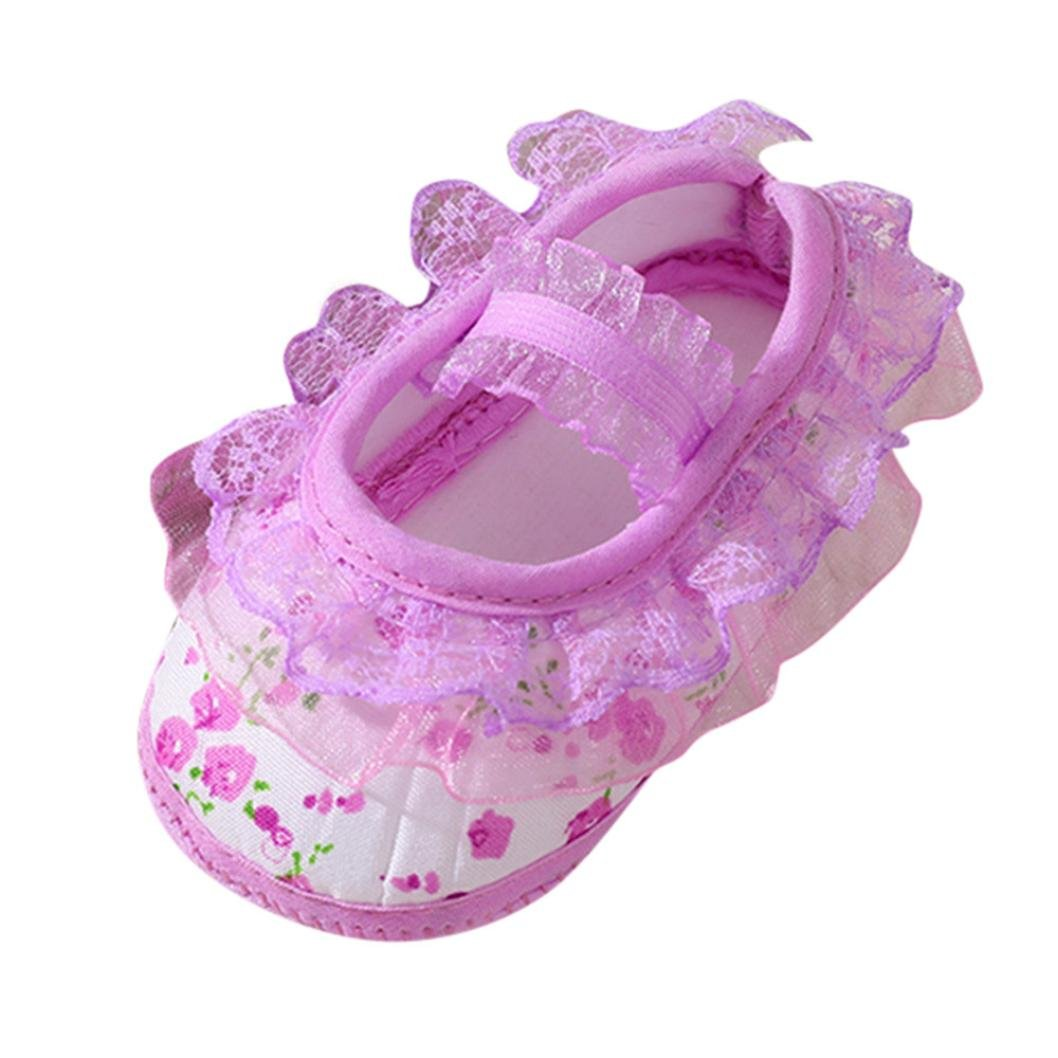 White, 0~6 Month Soft Soled Footwear,Coper Newborn Baby Girls Floral Lace Printed Crib Shoes