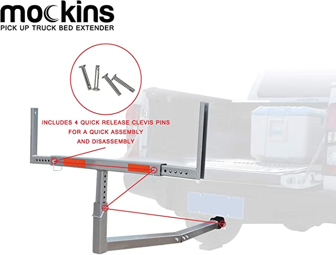 Stainless Mockins Heavy Duty Steel Pick Up Truck Bed Extender with Ratchet Straps The Hitch Mount Truck Bed Extension can be Used for Lumber or a Ladder or a Canoe /& Kayak