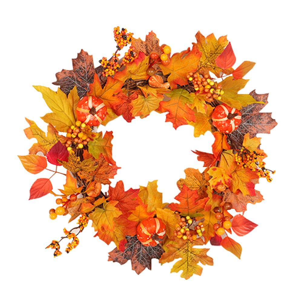 Autumn Christmas Door Wreath with Light,Berry and Fall Leaves Wreath Thanksgiving Harvest Garland Decor,20-Inch