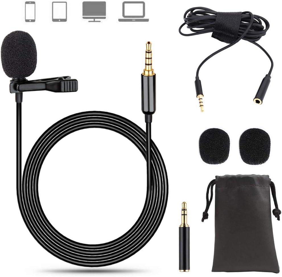 EasyULT 3.5mm Microfono Lavalier, Microfono Condensatore Omnidirezionale con Adattatore e Cavo di Prolunga, con Clip, per Smartphone, Phone/Registrazione di Interviste/Conferenza Video/Podcast