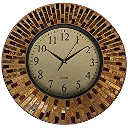 Lulu Decor, 16 Amber Rays Mosaic Wall Clock with 9.5 Glass Dial, Silent Movement for Living Room & Office Space (LP84)