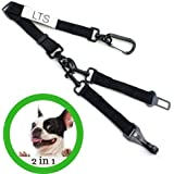 Dog Seat Belt Harness With Heavy Duty Hardware, Adjustable Tether Tangle-Free Swivel Attachment Seatbelt And Two Pet Safety Belt Leash Extension, Nylon Fabric Material, Black by LTS