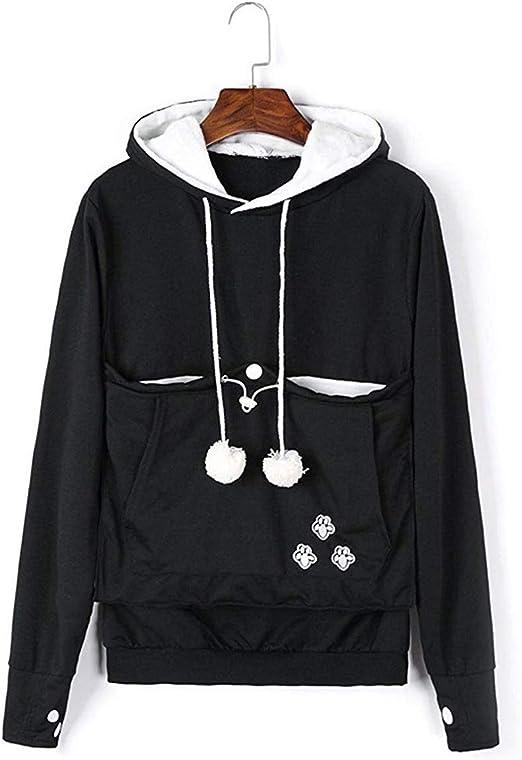 Unisex Women Pet Cat Dog Holder Carrier Hoodie Long Sleeve Big Pouch Kangaroo Sweatshirt (Black, XL)