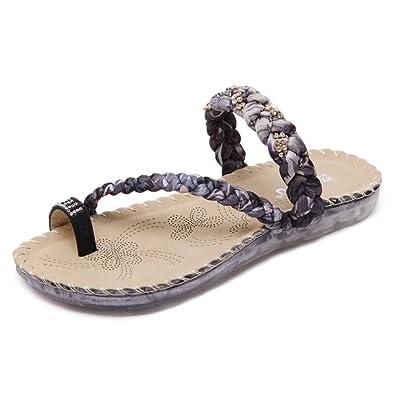 86958c126 ... Flip Flops Summer Ladies Bohemian Sandals Soft Flat Thong Rhinestone  Beads Sandals Girls Low Wedge Beach Slippers Size 2-8: Amazon.co.uk: Shoes  & Bags