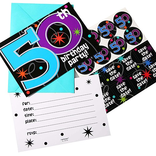 The Party Continuous 50th Birthday Party Invitations, 8 Pieces, Made from Paper, 4 1/4