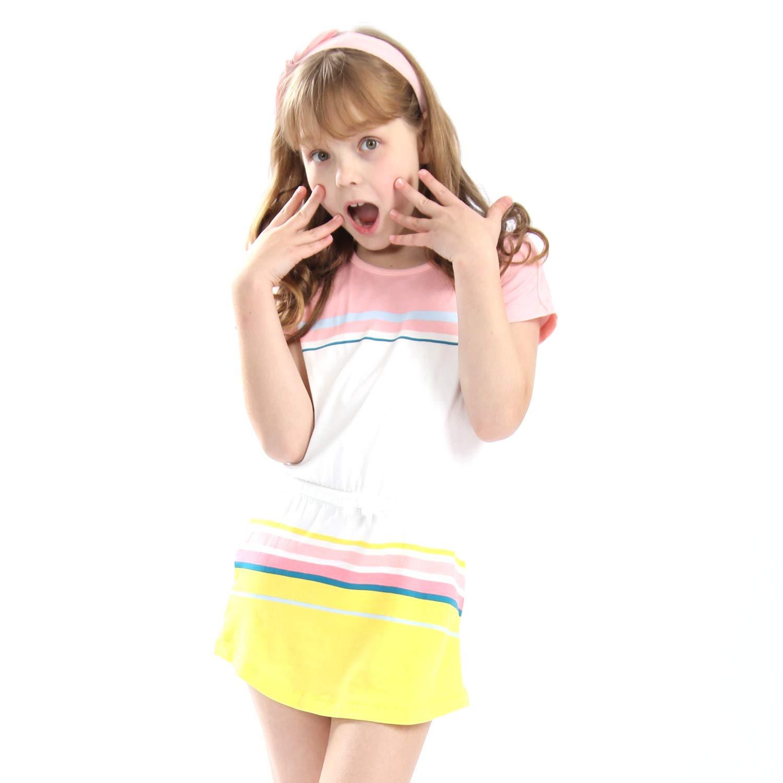 Mrsrui Little Girls Cotton Dress - Cartoon Print Tshirt Dress Skirt Pink by Mrsrui