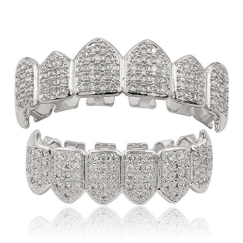 18k Gold Plated All Iced Out Diamond Grillz Luxury Rhinestone Mouth Teeth Grills Set with Extra Molding Bars Included (Silver) ()
