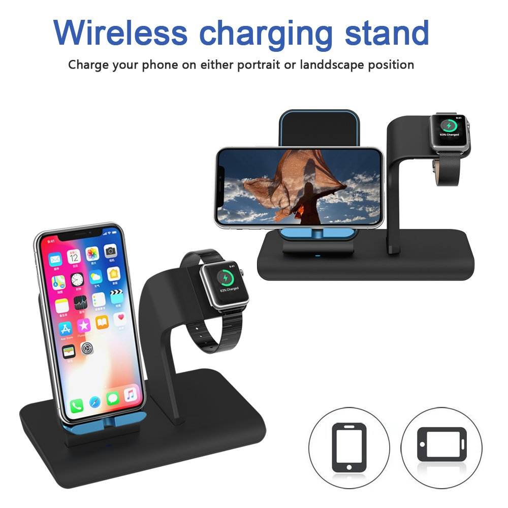 Apple Watch Stand charging docks & iPhone X Wireless Charger Stand for iPhone X/8/8 Plus,iwatch charger stand holder for Apple Watch Series 3,2,1 & Nike by XDODD (Image #3)