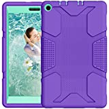 Fire HD 8 Case, Hocase Kids-Proof Heavy Duty Silicone Rubber Bumper+Hard Plastic Dual Layer Protective Case for Amazon Fire HD 8 Tablet (7th Generation, 2017 Release Only) - Purple/Teal