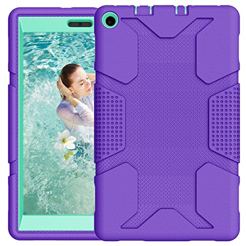 Hocase 2017 Fire HD 8 Case Rugged Heavy Duty Kids Proof Hybrid Hard Rubber Bumper Protective Case for All-New Amazon Fire HD 8 Tablet (7th Generation, 2017 Release Only) - - Purple Teal