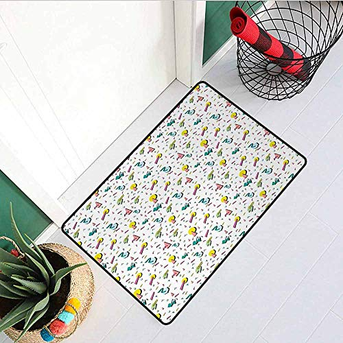 GloriaJohnson Vintage Commercial Grade Entrance mat 80s Fashion Style Retro Geometrical Figures Doodle Funky Lines Circles Triangles for entrances garages patios W31.5 x L47.2 Inch -