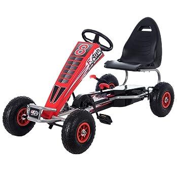 Lvbeis NiñOs Go Kart Coche De Pedales Racing Deportivo Karting con Asiento Ajustable Y Freno De Mano para De 5 A 15 AñOs,Red: Amazon.es: Deportes y aire ...