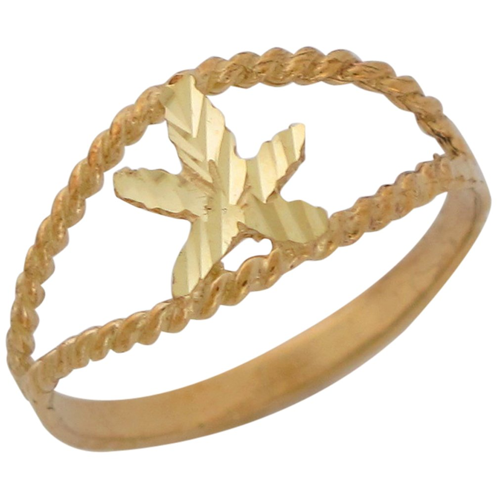 10k Yellow Gold Split Band Diamond Cut Marijuana Pot Bud Leaf Ring