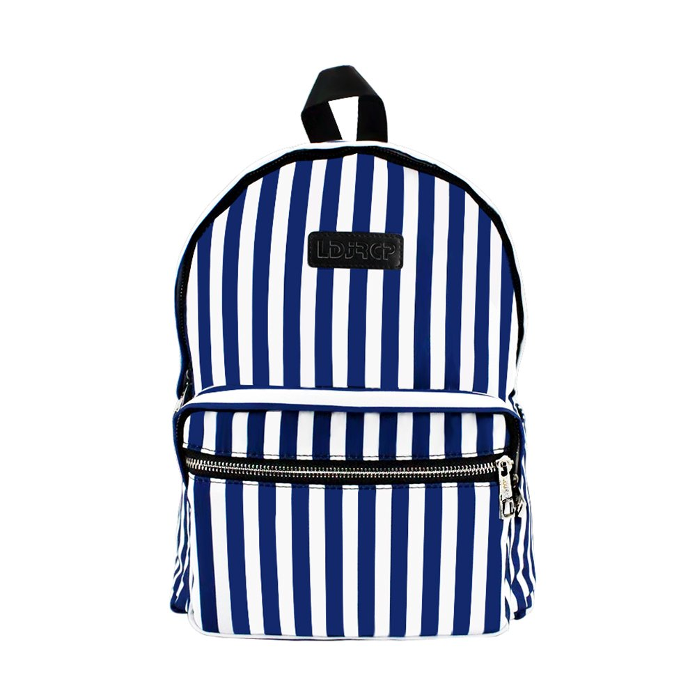 LDJRCP Navy Unisex Canvas Large Capacity Striped Backpack Casual Travel Backpack 13 inches Laptop backpack Book Bag School Bag