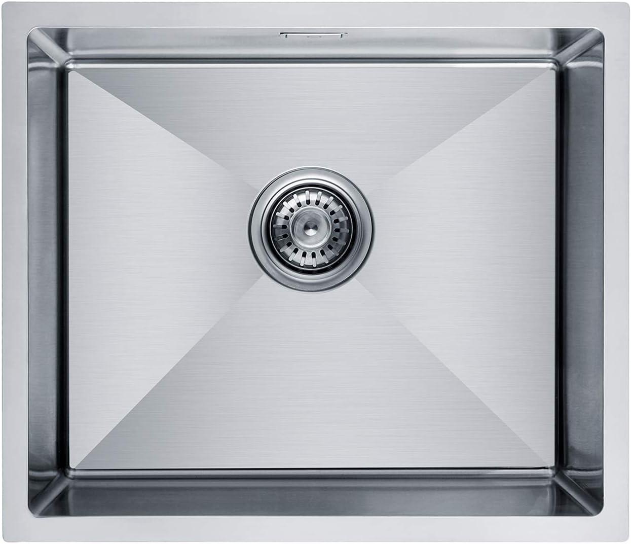 CECIPA Fregadero de Cocina un Seno,50cm*43 cm, Incluyendo Rebosadero y Juego de Desagüe I Sobre Encimera o Enrasado… (Acero)