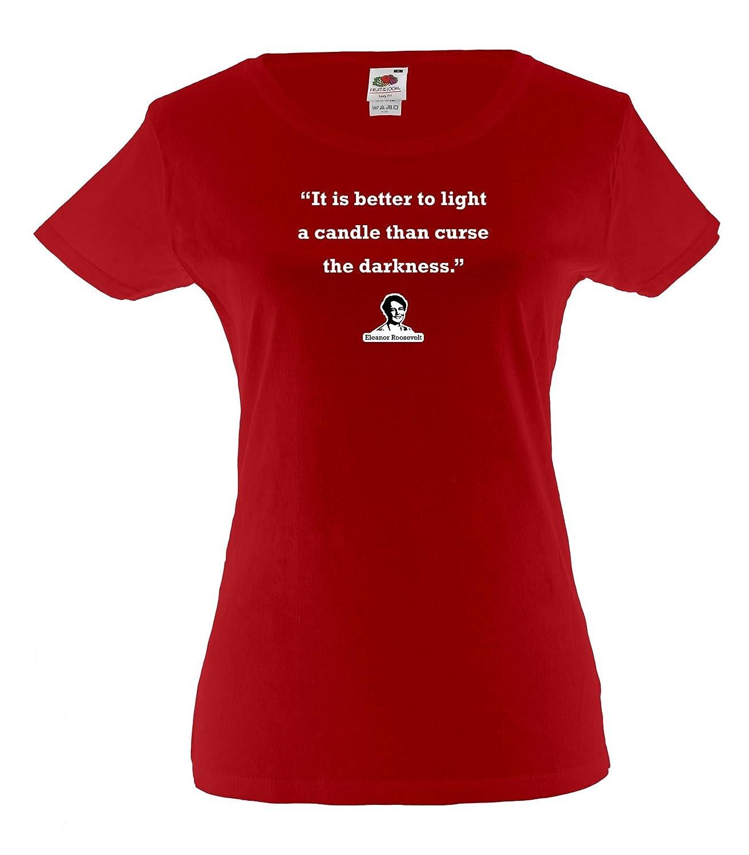 Amazon.com: Ladies cotton T-Shirt tee shirts design Eleanor Roosevelt quote: Darkness: Clothing