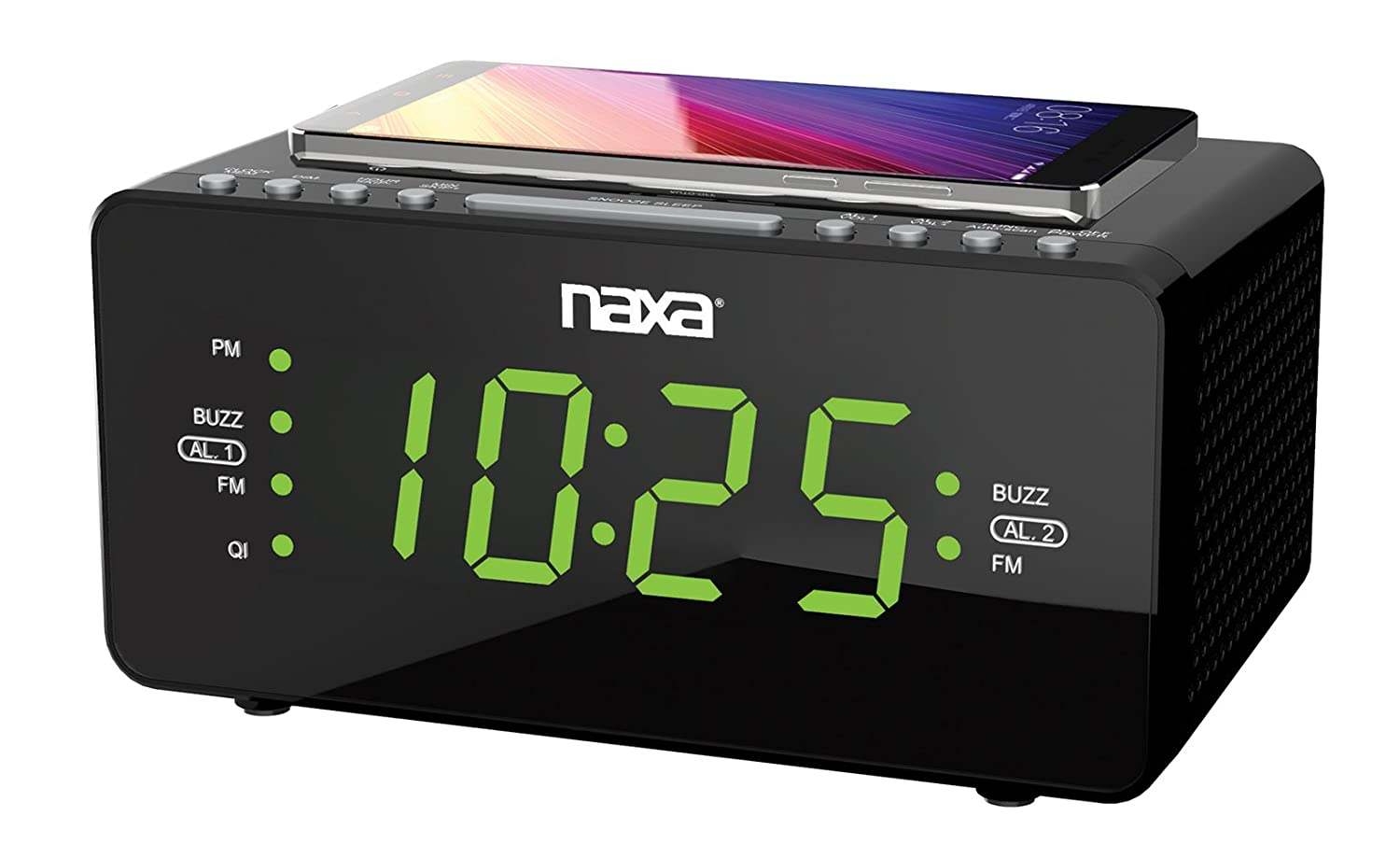 NAXA Electronics NRC-181 Bluetooth Easy-Read Dual Alarm Clock with Daily Repeat & USB Charge Port